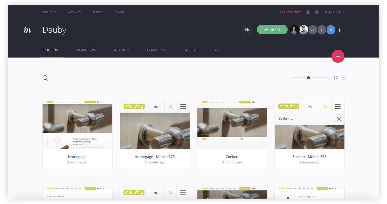 Invision App voor webdesigners.